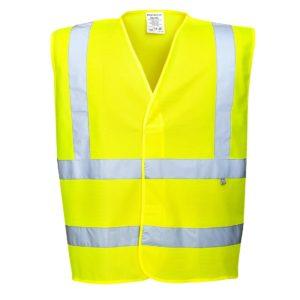 Kamizelka ostrzegawcza trudnopalna Portwest FR71 Antystatyczna kamizelka odblaskowa antystatyczna spawalnicza ostrzegawcza drogowa narzutka wysokiej widoczności na rzep ognioodporna żółta