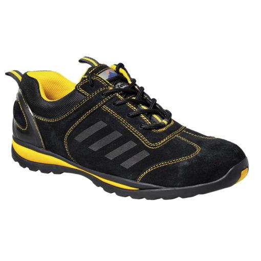 Półbuty roPółbuty robocze PORTWEST Steelite Lusum S1P HRO FW34 obuwie ochronne bezpieczne bhp z noskiem podnoskiem stalowym antyprzebiciowe z wkładką antypoślizgowe podeszwa żaroodporna adidasy do pracy czarno żółte