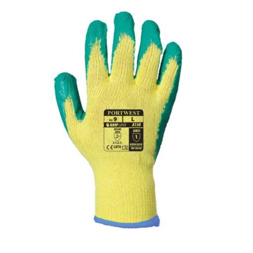 Dziane Rękawice Robocze PORTWEST A150 Fortis Grip rozm. 8-11 powlekane premium rękawiczki do pracy bhp lateks dzianina zielone