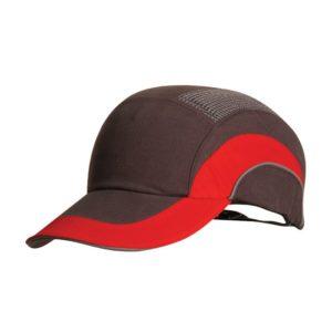 Hełm antyskalpowy lekki JSP Hardcap A1+ czerwony szary 7cm czapka twarda czapka hełm hełm antyskalpowy czapka anstyskalpowa ochronna z wkładką ze skorupą wentylowana regulowana hardcap z daszkiem baseball