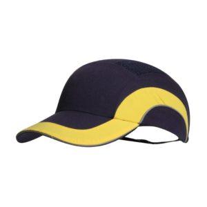 Hełm antyskalpowy lekki JSP Hardcap A1+ żółty Granatowy 7cm czapka twarda czapka hełm hełm antyskalpowy czapka anstyskalpowa ochronna z wkładką ze skorupą wentylowana regulowana hardcap z daszkiem baseball