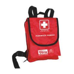 Apteczka Vera Szkolna 1 DIN 13164 Plus w Plecaku turystyczna na wyjazd na wycieczki wycieczkowa czerwona nieprzemakalna w plecaku na plecy wyjazdowa do szkoły przenośna w góry