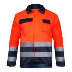 Kurtka ostrzegawcza pomarańczowa Lahti PRO L40909 kurtka z pasami ostrzegawczymi drogowa wysokiej widoczności 5 kieszeni z przodu