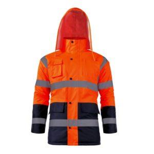 Kurtka ostrzegawcza ocieplana Lahti PRO L409076 pomarańczowa kurtka drogowa zimowa do pracy ciuchy robocze wysokiej widoczności z kapturem wodoodporna ocieplona ciepła robocza ochronna pomarańczowa odblaskowa