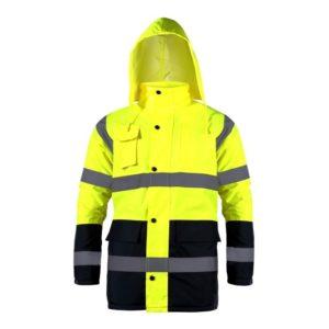 Kurtka ostrzegawcza ocieplana Lahti PRO L40907 Żółta kurtka drogowa zimowa do pracy ciuchy robocze wysokiej widoczności z kapturem wodoodporna ocieplona ciepła robocza ochronna żółta