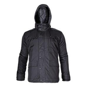 Kurtka ocieplana Lahti PRO L40915 odzież firmowa casual kurtka zimowa na zimę robocza do pracy ciepła z kapturem odpinanym wodoodporna poliestrowa czarna przód