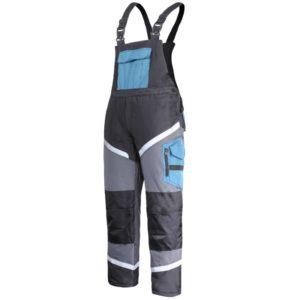 Ogrodniczki robocze ocieplane Lahti PRO L41109 spodnie szwedy z szelkami szwedzkie na szelki do pracy bhp ochronne ocieplone zimowe na zimę zimówki odblaskowe z odblaskami wzmacniane turkusowo czarno szare