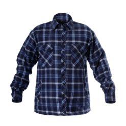 Koszula flanelowa robocza Lahti PRO L41802 ocieplana do roboty zimowa koszula mocna do pracy granatowa koszula na długi rękaw ochronna bhp przód
