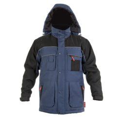 Kurtka ocieplana Lahti PRO LPKZ1 odzież firmowa kurtka robocza do pracy ochronna bhp zimowa na zimę ocieplona z ociepliną niebiesko czarna ciepła wodoodporna przód