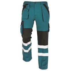 Spodnie robocze odblaskowe max reflex rflx zielone czarne z dwoma paskami odblaskowymi na dole