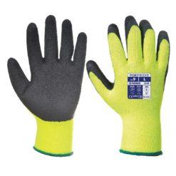 Rękawice Robocze Ocieplane PORTWEST A140 Thermal Grip - Lateks rękawiczki do pracy robocze ochronne bhp ocieplane na zimę zimówki ciepłe powlekane manualne akrylowe żółte czarne