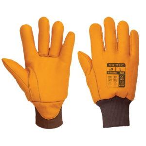 Rękawice robocze ocieplane PORTWEST A245 Antarctica Insulatex rękawice ocieplane do pracy ochronne bhp rękawiczki skórkowe skórzane do mroźni do chłodni ocieplone z ociepliną na zimę delikatne mocne bawełniane pomarańczowe brązowe