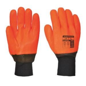 Rękawice robocze ocieplane wodoodporne PORTWEST A450 PVC rękawiczki ochronne robocze do pracy bhp pcv mocne wodoochronne ostrzegawcze zimowe dziane powlekane ocieplone z ociepliną pomarańczowe czarny mankiet