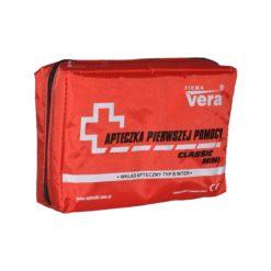 Apteczka VERA Classic Mini apteczka pierwszej pomocy samochodowa osobista kompaktowa w saszetce zestaw pierwszej pomocy czerwona z wyposażeniem
