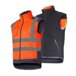 Kamizelka ostrzegawcza ocieplana Lahti PRO L41314 Pomarańczowa dwustronna ocieplacz bezrękawnik ochronny ciepły na zimę ostrzegawczy drogowy z pasami odblaskowymi czarno żółty ciop pib bhp roboczy do pracy prezentacja