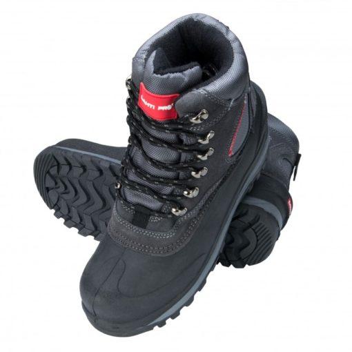 Śniegowce buty robocze Lahti PRO L30801 obuwie robocze ochronne mocne zimowe na zimę trzewiki wysokie za kostkę buty do pracy na dworzu dla robotnika rzemieślnicze czarne szare sznurowane prezentacja