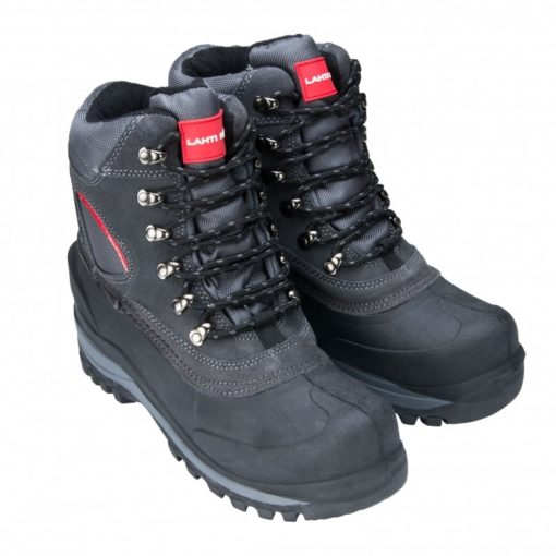 Śniegowce buty robocze Lahti PRO L30801 obuwie robocze ochronne mocne zimowe na zimę trzewiki wysokie za kostkę buty do pracy na dworzu dla robotnika rzemieślnicze czarne szare sznurowane z ukosa
