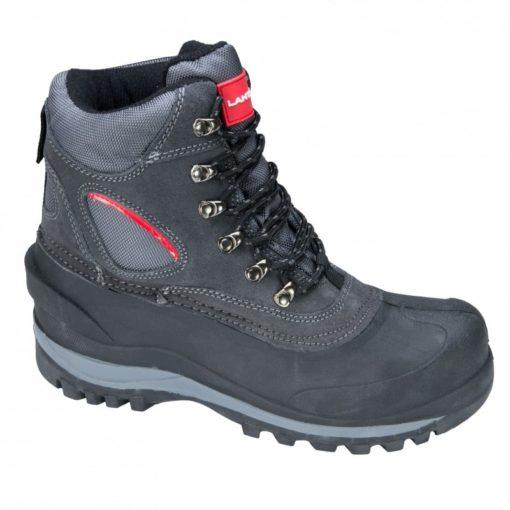 Śniegowce buty robocze Lahti PRO L30801 obuwie robocze ochronne mocne zimowe na zimę trzewiki wysokie za kostkę buty do pracy na dworzu dla robotnika rzemieślnicze czarne szare sznurowane z boku