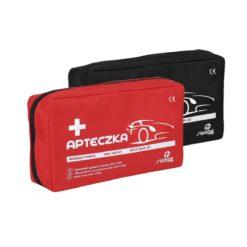 Apteczka samochodowa Swing-Med DIN 13164+ apteczka pierwszej pomocy do samochodu samochodówka samochodowa w saszetce z wyposażeniem zestaw pierwszej pomocy czerwony czarny
