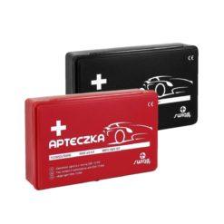 Apteczka samochodowa Swing-Med Apa04 DIN 13164+ Pudełko apteczka do samochodu zestaw pierwszej pomocy motoryzacyjny do autobusu z wyposażeniem samochodówka czerwona czarna