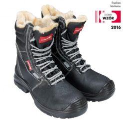 Trzewiki ocieplane wysokie Lahti PRO L30301 zimowe obuwie robocze do pracy ocieplane futerkowe futrzane czarne tpr sznurowane na zimę ciepłe na śnieg ochronne bezpieczne bezpieczne czarne s3 z blachą podnoskiem antyprzebiciowe antyelektrostatyczne ochronne buty bhp bez metalu profilowe