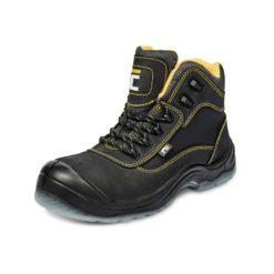 Trzewiki Robocze Cerva BK MF S3 SRC buty robocze obuwie ochronne wysokie do kostki mocne trapery do pracy czarne z blachą z wkładką antyprzebiciową podnosek metalowy mocne czarne żółte bhp