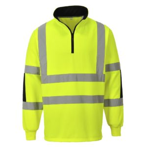 Bluza Ostrzegawcza Xenon Rugby Portwest B308 odzież robocza odblaskowa drogowa ostrzegawcza bluza na suwak z odblaskiem do pracy ochronna bhp ze wzmocnieniami 600d pasy odblaskowe stójka żółta