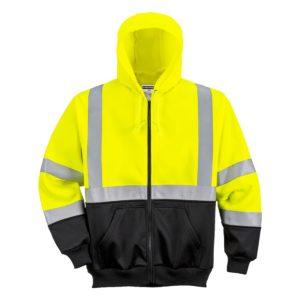 Bluza ostrzegawcza z kapturem Portwest B315 bluza ciepła ocieplona z odblaskami odblaskowa ostrzegawcza dwukolorowa 20471 dla drogowców roboty drogowe odzież robocza odzież bhp ochronna do pracy czarna żółta