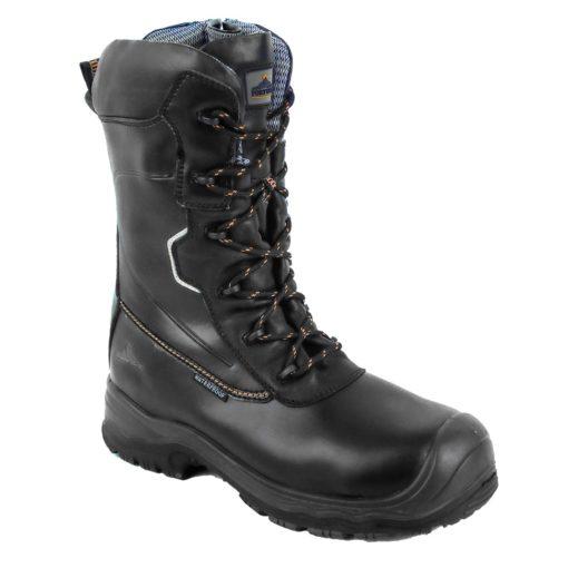 Trzewiki kompozytowe Portwest FD01 Traction S3 25cm trzewiki buty robocze premium ochronne wzmacniane z podnoskiem z wkładką antyprzebiciową antyprzebiciowe sznurowane wysokie nadlany nosek czarne z blachą