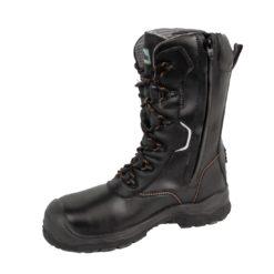 Trzewiki kompozytowe Portwest FD01 Traction S3 25cm trzewiki buty robocze premium ochronne wzmacniane z podnoskiem z wkładką antyprzebiciową antyprzebiciowe sznurowane wysokie nadlany nosek czarne z boku