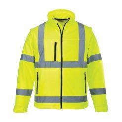 Softshell ostrzegawczy (3L) Portwest S428 bluza kurtka ochronna bhp drogowa odblaskowa z odblaskami do pracy dla drogowców na suwak 4 kieszenie odzież robocza wodoszczelna wiatrówka ciuchy żółta