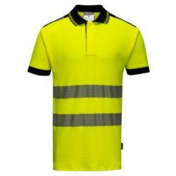 Koszulka ostrzegawcza polo Vision Portwest T180 koszulka z kołnierzykiem do pracy robocza ochronna bhp ostrzegawcza z odblaskami dla drogowców żółta bawełniana