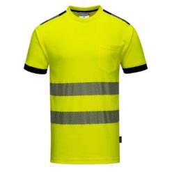 Koszulka ostrzegawcza PORTWEST T181 do pracy odblaskowa wytrzymała z odblaskami neonowa seledynowa dla drogowców na krótki rękaw odzież dla pracowników ochronna bhp sklep system internetowy żółta czarna