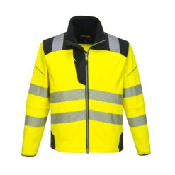 Kurtka Ostrzegawcza Softshell Vision Portwest T402 kurtka cienka przeciwdeszczowa wiatrówka odblaskowa drogowa mocna wzmacniana ochronna bhp z odblaskami dla drogowców wiatroodporna żółta czarna
