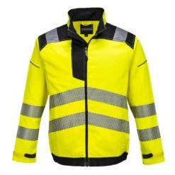 Kurtka Ostrzegawcza Vision Portwest T500 kurtka lekka mocna odblaskowa z odblaskami ostrzegawcza na suwak drogowa dla drogowców ochronna bhp wiatrówka żółta czarna przód