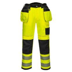 Spodnie Ostrzegawcze do pasa Vision Portwest T501 odblaskowe drogowe mocne spodnie do pasa w pas z nakolannikami kieszenie kaburowe bhp dla drogowców z pasami odblaskowymi żółte