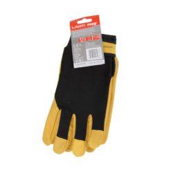 Skórzane rękawice ochronne ocieplane Lahti PRO L2512 rękawiczki robocze do pracy ochronne bhp skórzane skórkowe dla kierowcy do warsztatu żółte czarne zawieszka