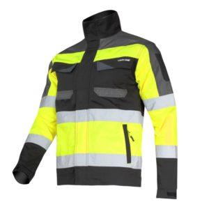 Kurtka Ostrzegawcza Lahti PRO L40411 Żółta SLIM-FIT kurtka bluza robocza ochronna odblaskowa drogowa bhp mocna wzmacniana z odblaskami dopasowana żółta czarna