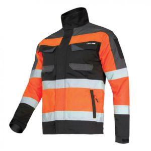 Kurtka Ostrzegawcza Lahti PRO L40412 pomarańczowa SLIM-FIT kurtka bluza robocza ochronna odblaskowa drogowa bhp mocna wzmacniana z odblaskami dopasowana pomarańczowa czarna
