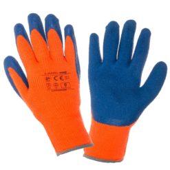 Rękawice ochronne ocieplane Lahti PRO L2503 ocieplane na zimę akrylowe powleczone lateksem lateksowe dzianinowe mocne ciepłe na zimę na jesień ze ściągaczem ciepłe do pracy ochronne robocze bhp żółte wysokiej widoczności pomarańczowe niebieskie