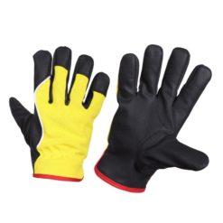 Rękawice ochronne ocieplane Lahti PRO L2507 mocne warsztatowe ocieplane rękawiczki ochronne bhp do pracy robotnicze dla mechanika na ściągacz żółto czarne
