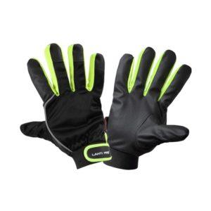 Rękawice ochronne ocieplane Lahti PRO L2511 rękawiczki do pracy warsztatowe do warsztatu robocze ochronne ocieplane z polarem chwytne manualne mocne lahti czarne zielone