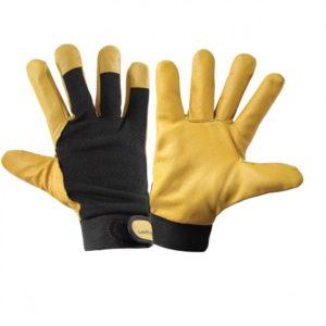 Skórzane rękawice ochronne ocieplane Lahti PRO L2512 rękawiczki robocze do pracy ochronne bhp skórzane skórkowe dla kierowcy do warsztatu żółte czarne
