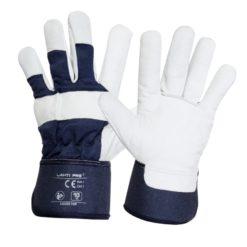 Rękawice ochronne skórzane Lahti PRO L2506 skórkowe skórzane rękawiczki do pracy ochronne do roboty dla kierowcy ocieplone na zimę na jesień polarowe ze skórką kozia skóra mocne wytrzymałe lahti biało granatowe