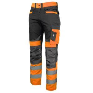 Spodnie Ostrzegawcze Lahti PRO L40512 pomarańczowe SLIM-FIT spodnie ochronne drogowe ostrzegawcze odblaskowe z odblaskami mocne slimowane do pracy bhp ciop pib wzmacniane pomarańczowe czarne do pasa w pas