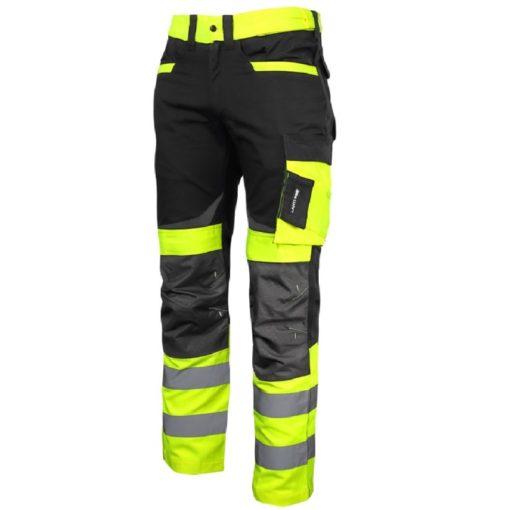 Spodnie Ostrzegawcze Lahti PRO L40511 Żółte SLIM-FIT spodnie ochronne drogowe ostrzegawcze odblaskowe z odblaskami mocne slimowane do pracy bhp ciop pib wzmacniane żółte czarne do pasa w pas