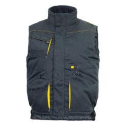 Kamizelka DELTA PLUS DMACHGIW bezrękawnik czarny ciepły na zimę z kieszeniami mocny wytrzymały delta plus panoply ciuchy robocze odzież bhp grafitowy stalowy szary żółty