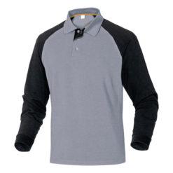 Koszulka Polo DELTA PLUS Turino Długi Rękaw polówka robocza do pracy ciuchy robocze długi rękaw z kołnierzykiem podkoszulek ciuchy czarna szara