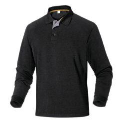 Koszulka Polo DELTA PLUS Turino Długi Rękaw polówka robocza do pracy ciuchy robocze długi rękaw z kołnierzykiem podkoszulek ciuchy czarna