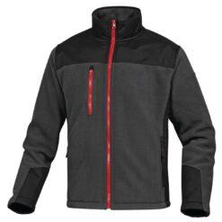 Robocza bluza polarowa DELTA PLUS BRIGHTON 2 do pracy ochronna zimowa ciepła bhp sklep system internetowy odzież dla pracowników na suwak z kieszenią ocieplana szara czerwona